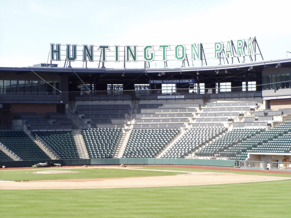 Image of Columbus Clippers stadium Huntington Park looking from the outfield toward home plate