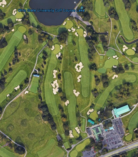 Aerial image of Ohio State University Golf Club with letters O S U spelled in sand bunkers.