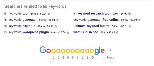 Google related search terms for LSI keywords