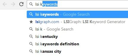 Google pre-filled LSI keyword results in the search bar.