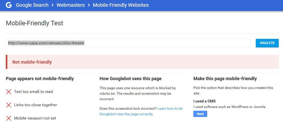 Ohio Theater Fails Google Mobile Friendly Test